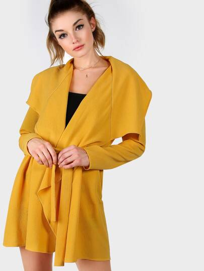 Yellow Waterfall Collar Wrap Coat