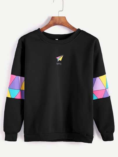 Schwarzes Papierflugzeug-Druck-Patchwork-Ordnungs-Sweatshirt
