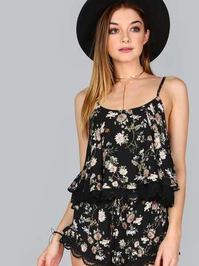 Crop Floral Lace Cami BLACK