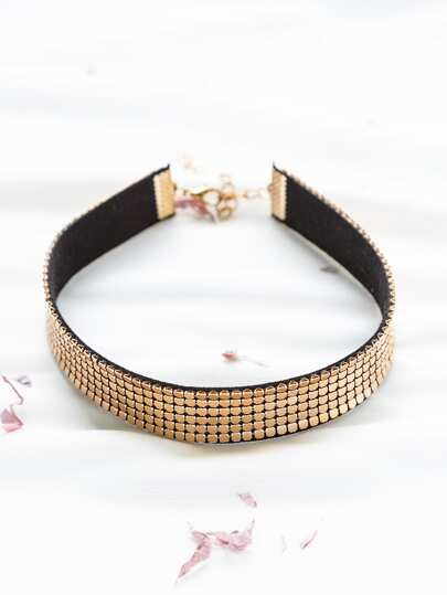Gold Studded Punk Choker Necklace