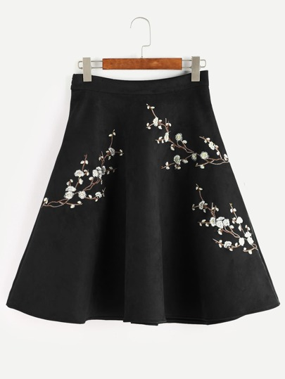 Black Plum Blossom Embroidered Suede A-Line Skirt