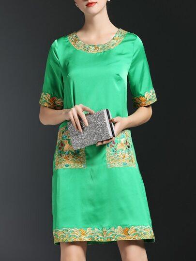 Green Vintage Embroidered Shift Dress