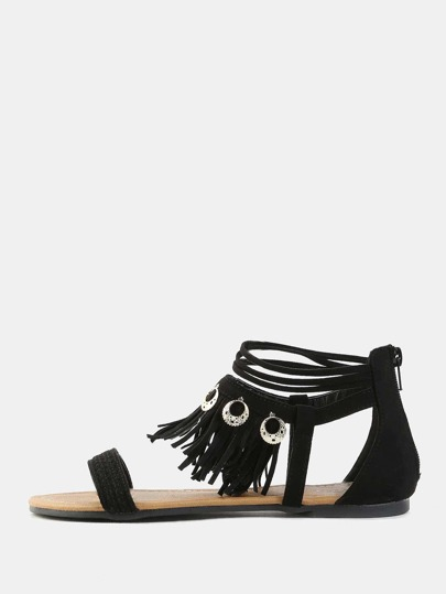 Open Toe Tribal Sandals BLACK