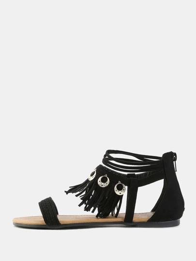 Open Toe Tribal Sandals BLACK