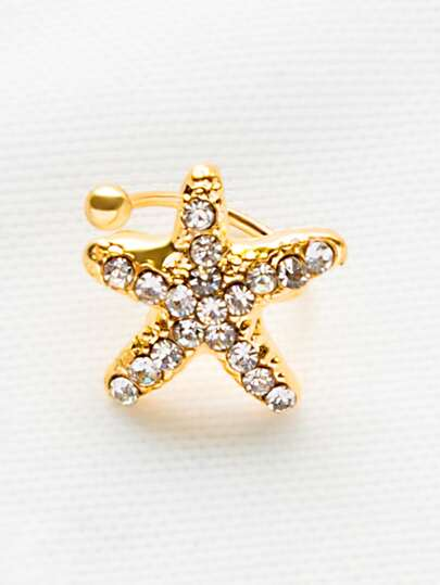 Gold Rhinestone Starfish Ear Cuff