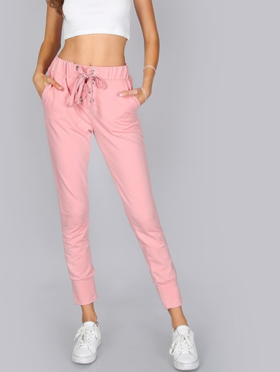 Lace Up Joggers PINK