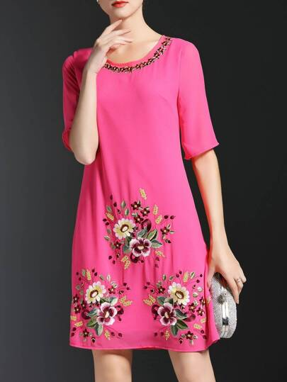 Hot Pink Flowers Embroidered Shift Dress