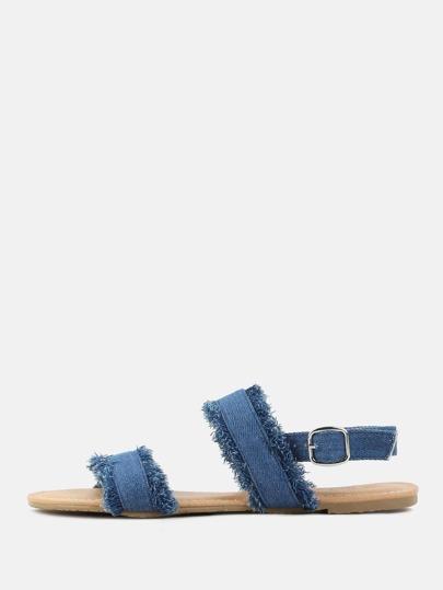 Distressed Denim Double Strap Sandals BLUE DENIM