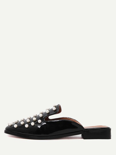 Perline decorative pelle verniciata Loafer pantofole