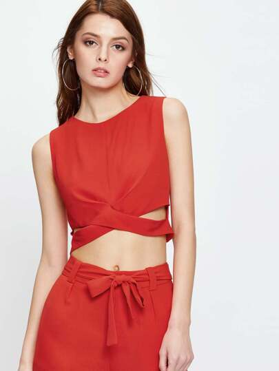 Red Cut Out Crop Vest
