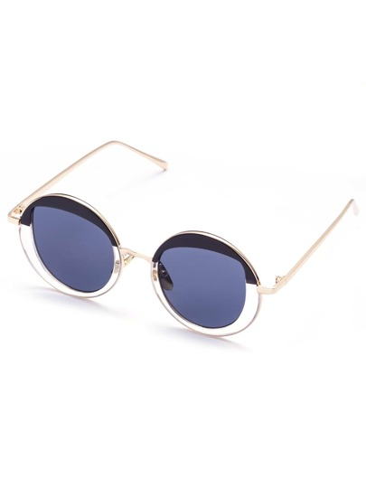 Gafas de sol diseño redondo con marco negro y dorado