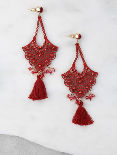 Crochet Tassel Drop Earrings RED