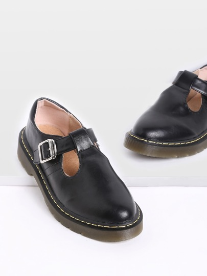 Black Mary Jane PU Flats