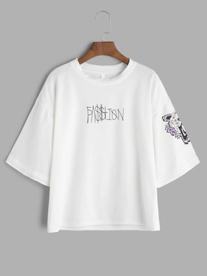 Lettera Bianco spalla Stampa goccia T-shirt