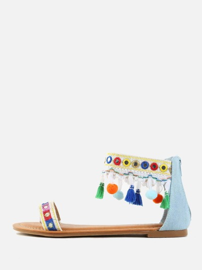Denim Ankle Strap Pom Pom Sandals DENIM