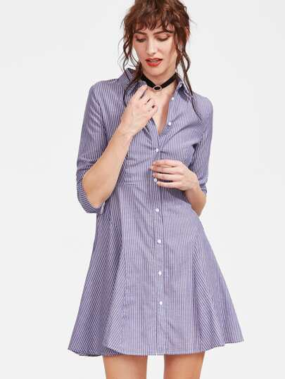 Blue Vertical Striped Shirt Dress