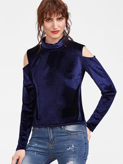 Navy Cut Out Shoulder Velvet T-shirt