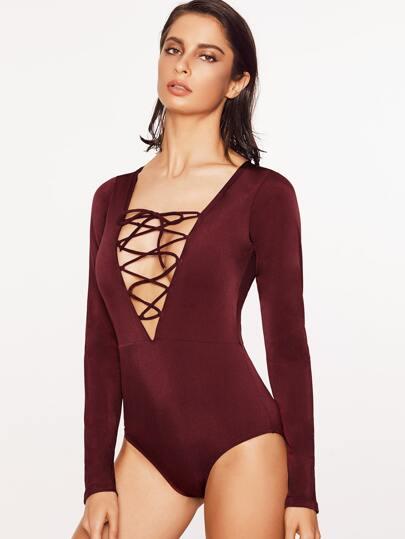 Burgundy Criss Cross V Neck One-Piece Swimwear