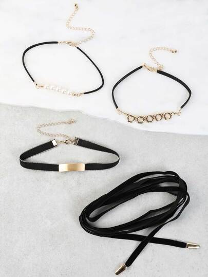 Geometric Cut Out Choker Set BLACK