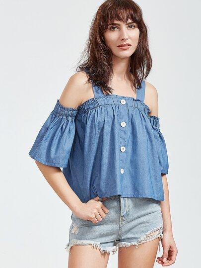 Blau Kalt Schulter Shirred Top