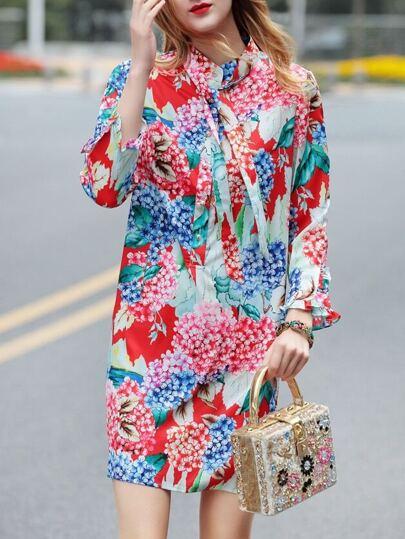 Color Block Tie Neck Floral Dress