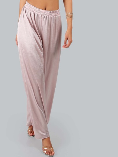 Satin Elastic Flowy Pants PINK