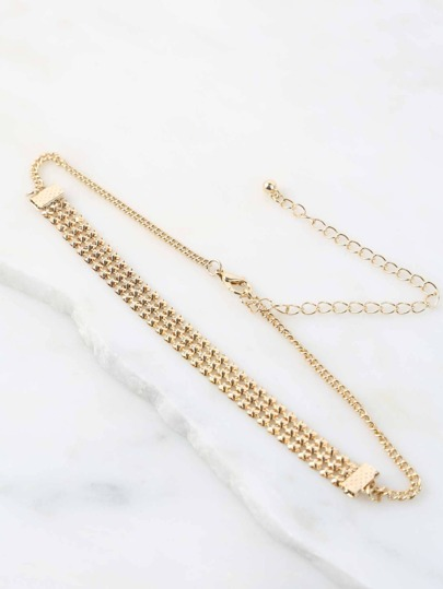 Triple Layered Flat Chain Choker GOLD