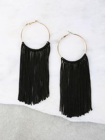Metallic Hoop Tassel Earrings BLACK