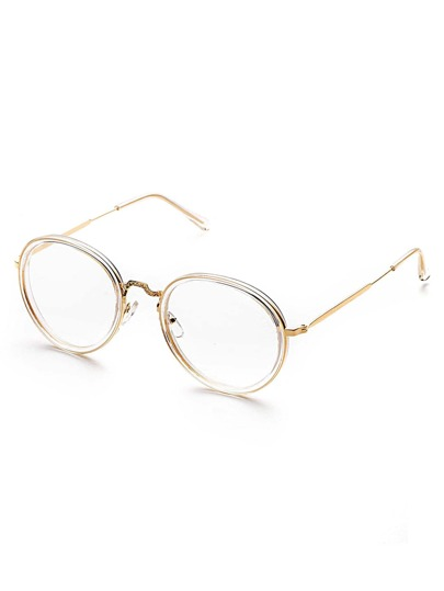 Clear Frame Round Design Sunglasses