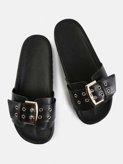 Chunky Buckle Slide Sandals BLACK