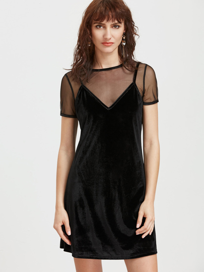 Black Cami Dress With Mesh T-shirt