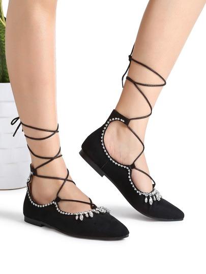 Planos ballet con cordones con detalle de apliques cristales - negro