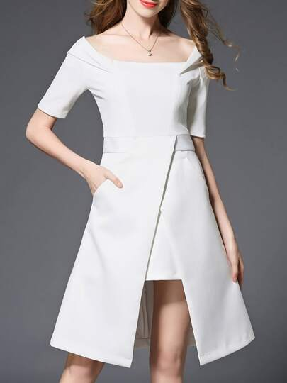 White Boat Neck Pockets Asymmetric Dress