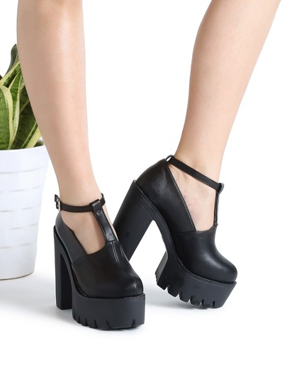 Zapatos pu con plataforma con correa al tobillo - negro