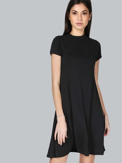 Short Sleeve Mock Neck Dress BLACK