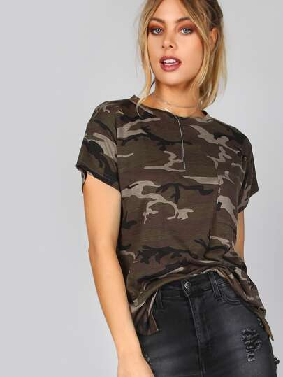 Slashed Camouflage Pocket Tee