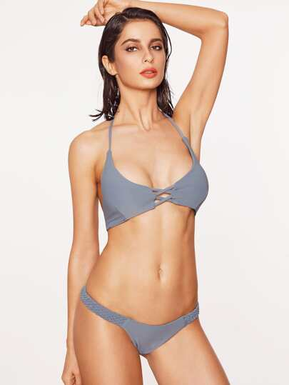 Grey Criss Cross Braided Strap Halter Bikini Set