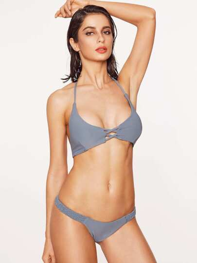 "grey criss cross intrecciata ""top bikini set"