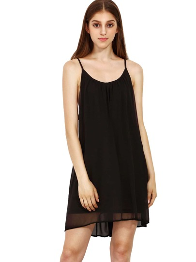 Spaghetti Strap Hollow Shift Neon Black Braces Sun Slip Dresses