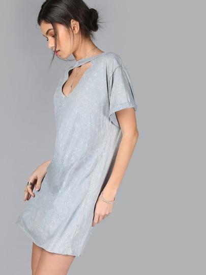 Cutout Neckline T-Shirt Dress STONE