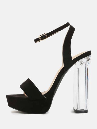 Faux Suede Platform Perspex Heels BLACK