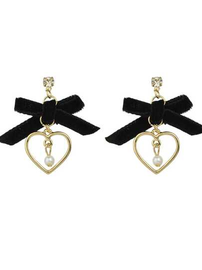 Black Color Velvet Bowtie Pearl Heart Shape Drop Earrings