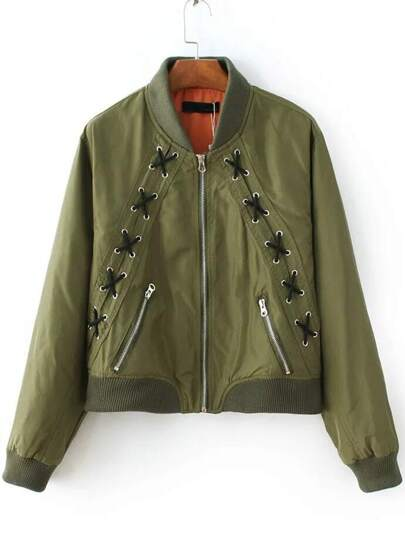 Army Green Lace Up Design Zipper Jacket