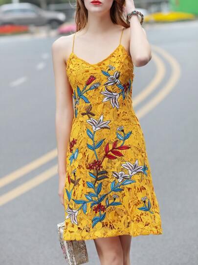 Yellow Spaghetti Strap Flowers Crochet Dress
