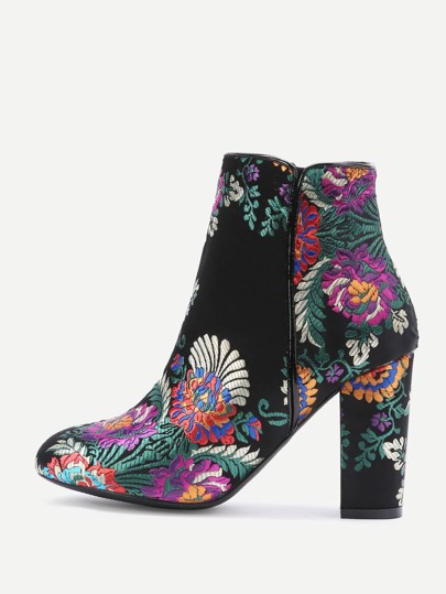 Black Floral Embroidery Chunky Heeled Ankle Boots