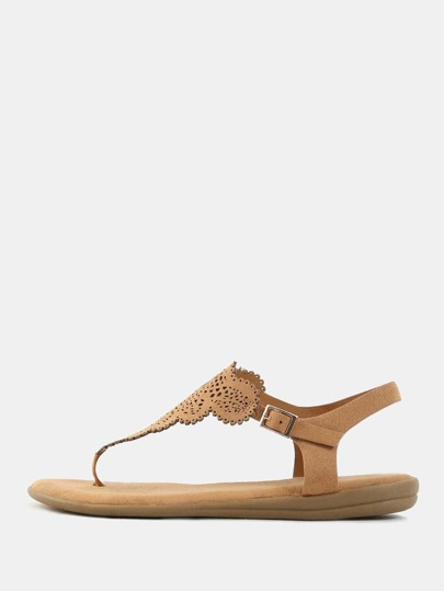 Suede Lace Design Thong Sandals TAN