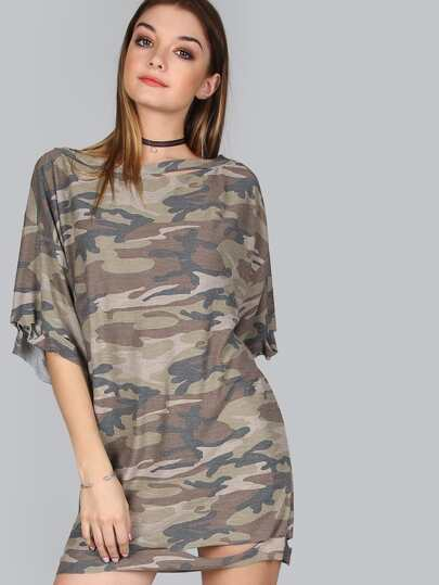 Camouflage T-Shirt Dress OLIVE