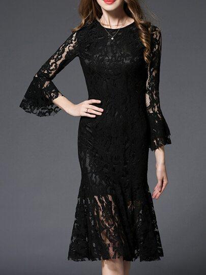 Black Bell Sleeve Fishtail Lace Dress