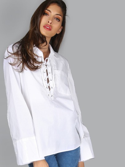 Lace Up Dolphin Hem Blouse WHITE