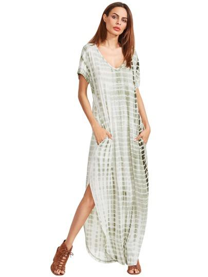 التعادل صبغ الخامس الرقبة الجانبية سبليت فستان طويل